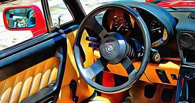 Digital Art - Alfa Romeo 3 Through The Window by Dorothy Berry-Lound