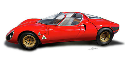Drawing - Alfa Romeo 33 Stradale 1967 by Alain Jamar