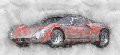 Transportation Mixed Media - Alfa Romeo 33 Stradale 2 - 1967 - Automotive Art - Car Posters by Studio Grafiikka