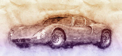 Transportation Mixed Media - Alfa Romeo 33 Stradale 3 - 1967 - Automotive Art - Car Posters by Studio Grafiikka