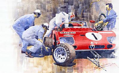 Alfa Romeo Painting - Alfa Romeo 33tt3 Targa Floria 1972 Vaccarella Stommelen by Yuriy  Shevchuk