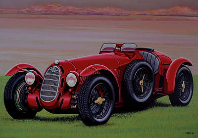 Painting - Alfa Romeo 8c 2900a Botticella Spider 1936 Painting by Paul Meijering