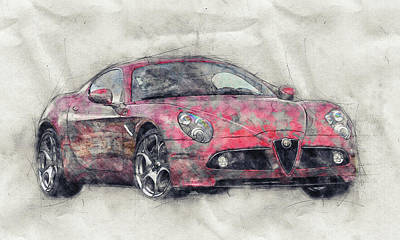 Transportation Royalty-Free and Rights-Managed Images - Alfa Romeo 8C Competizione 1 - Sports Car - Automotive Art - Car Posters by Studio Grafiikka