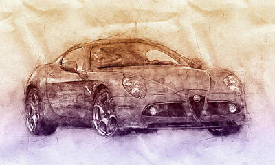 Transportation Royalty-Free and Rights-Managed Images - Alfa Romeo 8C Competizione 2 - Sports Car - Automotive Art - Car Posters by Studio Grafiikka