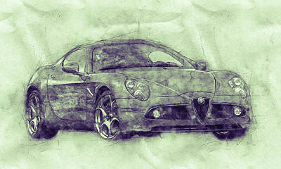 Mixed Media Royalty Free Images - Alfa Romeo 8C Competizione 3 - Sports Car - Automotive Art - Car Posters Royalty-Free Image by Studio Grafiikka