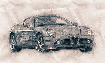 Transportation Royalty-Free and Rights-Managed Images - Alfa Romeo 8C Competizione - Sports Car - Automotive Art - Car Posters by Studio Grafiikka