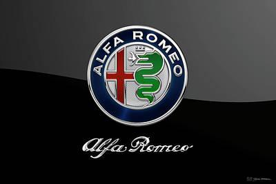 Digital Art - Alfa Romeo Badge - Luxury Edition On Black by Serge Averbukh