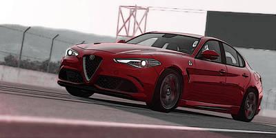 Painting - Alfa Romeo Giulia Quadrifoglio by Andrea Mazzocchetti