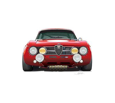 Drawing - alfa romeo GTA for t-shirts by Alain Jamar