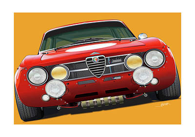 Digital Art - Alfa Romeo Gtam On Yellow by Alain Jamar