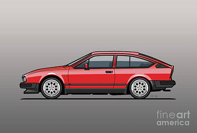 Apparel Digital Art - Alfa Romeo Gtv6 Red by Monkey Crisis On Mars