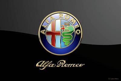 Digital Art - Alfa Romeo Legacy Badge - Luxury Edition On Black by Serge Averbukh