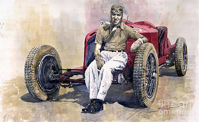 Watercolor Sports Painting - Alfa Romeo Monza Tazio Nuvolari 1932 by Yuriy  Shevchuk