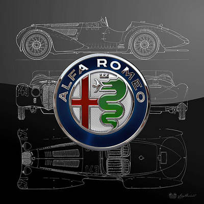Digital Art - Alfa Romeo New 2015 3 D Badge Over 1938 Alfa Romeo 8 C 2900 B Silver Blueprint Special Edition by Serge Averbukh