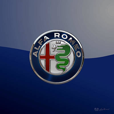 Digital Art - Alfa Romeo New 2015 3 D Badge Special Edition On Blue by Serge Averbukh