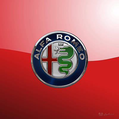 Digital Art - Alfa Romeo New 2015 3 D Badge Special Edition On Red by Serge Averbukh