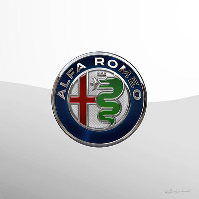 Digital Art - Alfa Romeo New 2015 3 D Badge Special Edition On White by Serge Averbukh