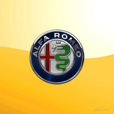 Digital Art - Alfa Romeo New 2015 3 D Badge Special Edition On Yellow by Serge Averbukh