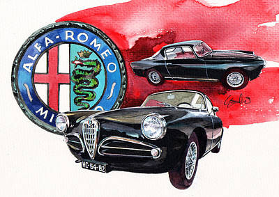Sprint Painting - Alfa Romeo Super Sprint C by Yoshiharu Miyakawa