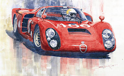 Alfa Romeo Painting - Alfa Romeo Tipo 33 2 Targa Floria 1968 by Yuriy  Shevchuk