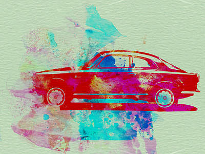 American Cars Drawing - Alfa Romeo  Watercolor 2 by Naxart Studio