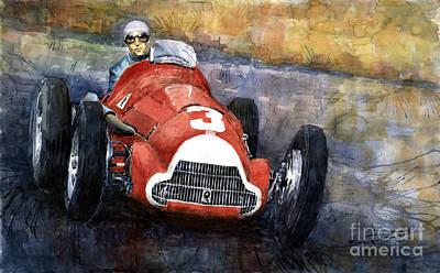 Alfa Romeo158 British Gp 1950 Luigi Fagioli Art Print by Yuriy  Shevchuk