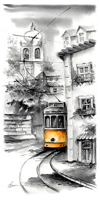 City And Colour Painting - Alfama Lisbon Tram On Black And White Background by Elena Petrova Gancheva