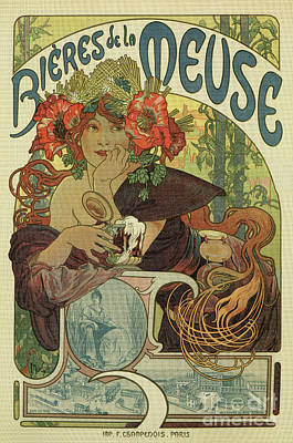 Beer Drawings Royalty Free Images -  Alfons Mucha art nouveau beer ad Royalty-Free Image by Aapshop