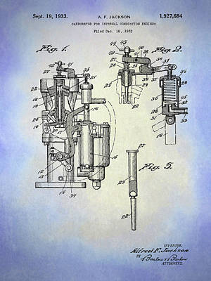 Digital Art - Alfred F Jackson Carburetor Patent by David King