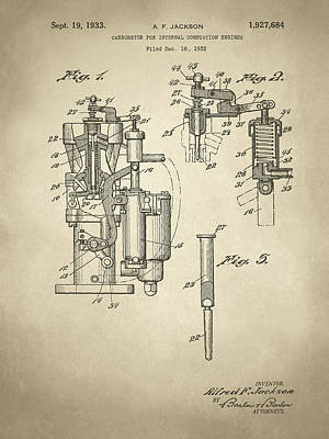 Digital Art - Alfred F Jackson Carburetor Patent Sepia by David King
