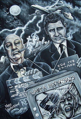 Spooky Scene Painting - Alfred Hitchcock And Rod Serling by Michael Vanderhoof