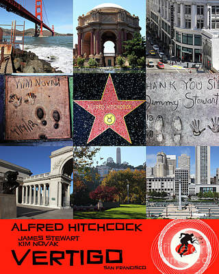 Photograph - Alfred Hitchcock Jimmy Stewart Kim Novak Vertigo San Francisco 20150608 Text Red by San Francisco Art and Photography
