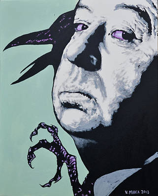 Hitchcock Film Painting - Alfred Hitchcock by Victor Minca