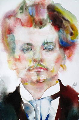 Alfred Jarry - Watercolor Portrait Original by Fabrizio Cassetta