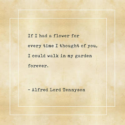 Mixed Media - Alfred Lord Tennyson Quote - Literary Quotes - Book Lover Gifts - Typewriter Quotes by Studio Grafiikka