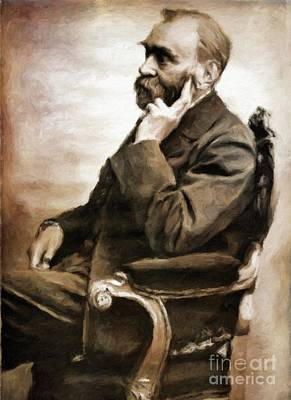 Literature Painting - Alfred Nobel, Scientist By Mary Bassett by Mary Bassett