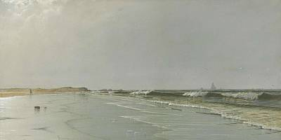 Landmarks Painting Royalty Free Images - Alfred Thompson Bricher American 1837 1908-beach At Little Boars Head New Hampshire Royalty-Free Image by Alfred Thompson Bricher American