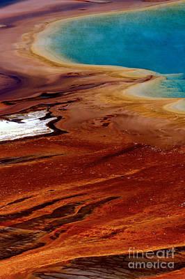 Photograph - Algae Flows Around Grand Prismatic by Adam Jewell