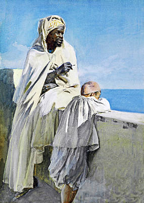 Painting - Algerian Man And His Son by Munir Alawi