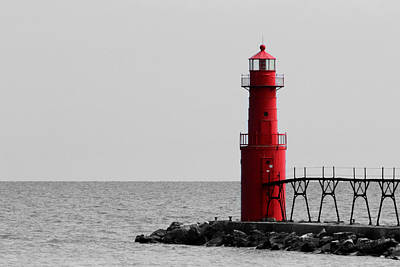 Photograph - Algoma Lighthouse Bwc by Mark J Seefeldt