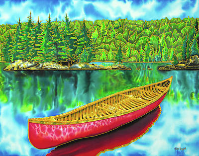 Painting - Algonquin Park - Red Canoe by Daniel Jean-Baptiste