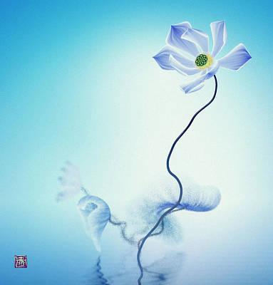 Digital Art - Algorithmic Art - Math Flowers In Blue 3 by GuoJun Pan