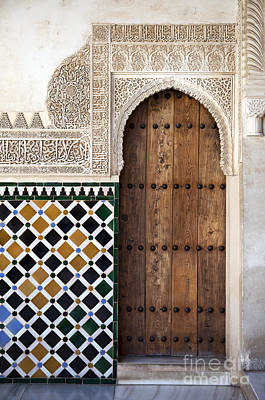 Tiled Photograph - Alhambra Door Detail by Jane Rix