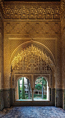 Photograph - Alhambra Palace Garden Window by Adam Rainoff