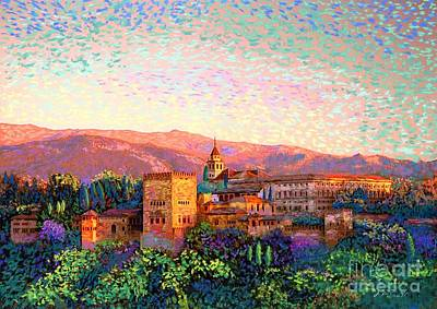 Brick Buildings Painting - Alhambra, Grenada, Spain by Jane Small