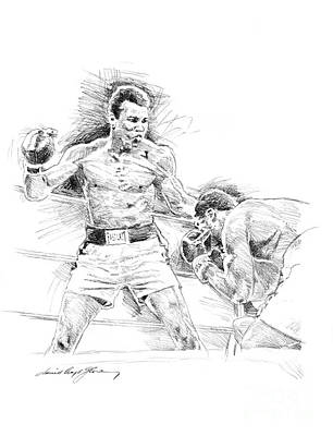Boxing Drawing - Ali And Frazier by David Lloyd Glover