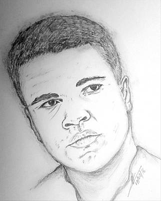 Boxer Drawing - Ali by Collin A Clarke