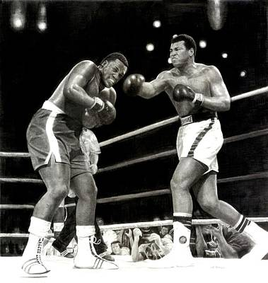 Art Print featuring the drawing Ali Vs. Frazier 3 by Noe Peralez