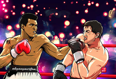 Boxing Legends Digital Art - Ali Vs Rocky by Akyanyme