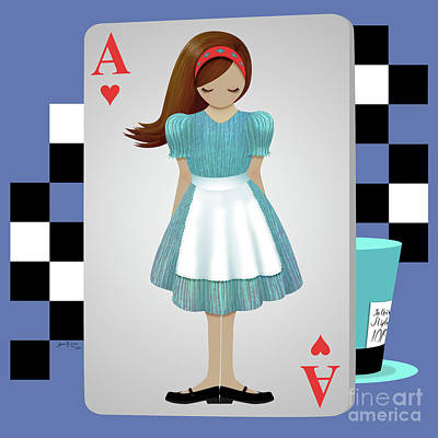 Alice 3d Flying Cards Art Print by Audra Lemke